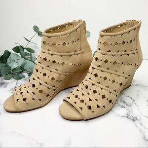 MICHAEL KORS Booties Wedge Cutout Suede Size 9.5